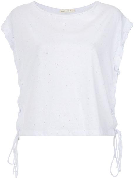 Giuliana Romanno blouse women lace white cotton top