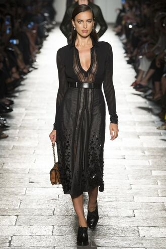 dress bottega veneta see through milan fashion week 2016 irina shayk midi dress black dress