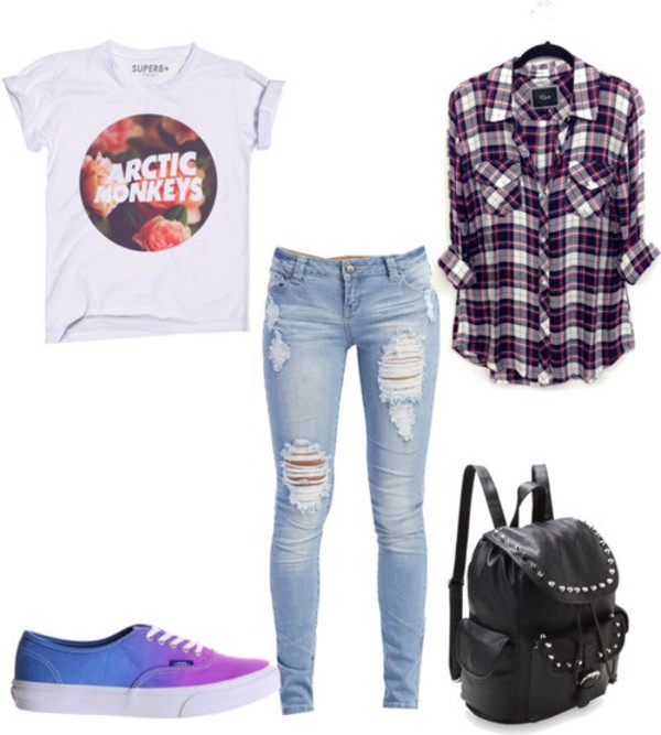 shoes vans ombre arctic monkeys t-shirt jeans Rails band t-shirt