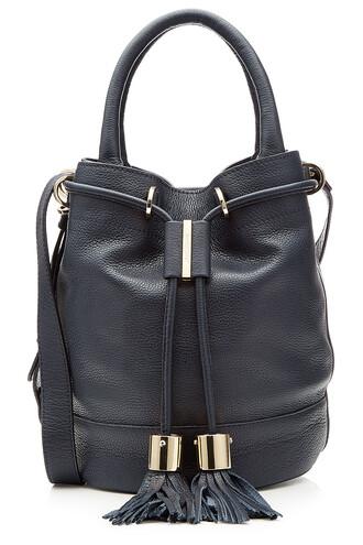 drawstring bag shoulder bag leather blue