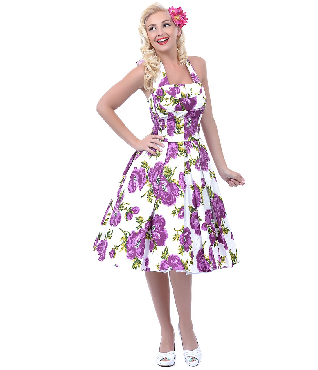 Unique Vintage Purple & White Floral Cotton Flirty Swing Dress