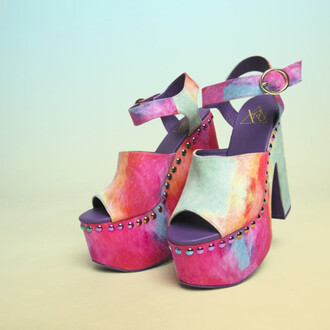 shoes yru platform shoes tiedye multicolor multi colored sandals