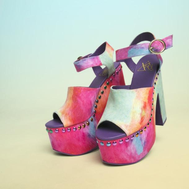 4e163e24f3ca N shoes platforms yru platform shoes tiedye multicolor multi colored sandals  jpg 610x610 Tie dye sandals