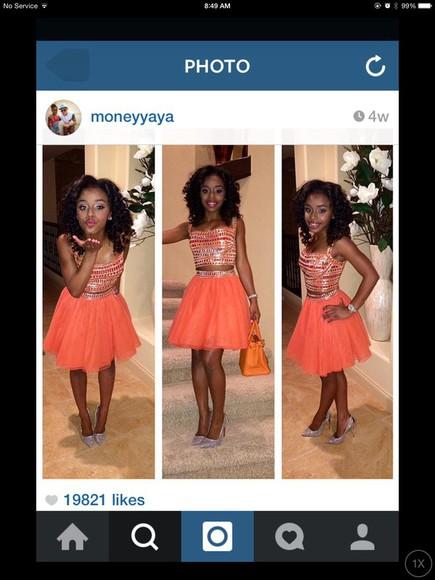 orange dress orange sparkles two-piece
