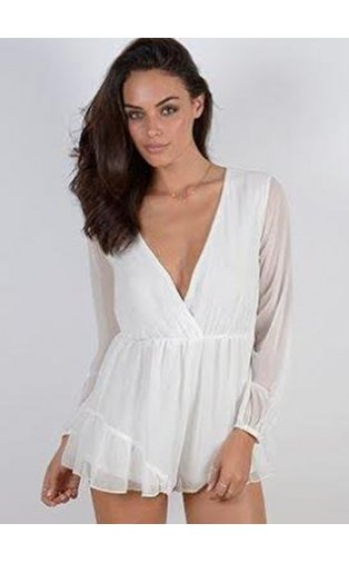 Limited Edition Chiffon Playsuit In White -  from The Fashion Bible  UK