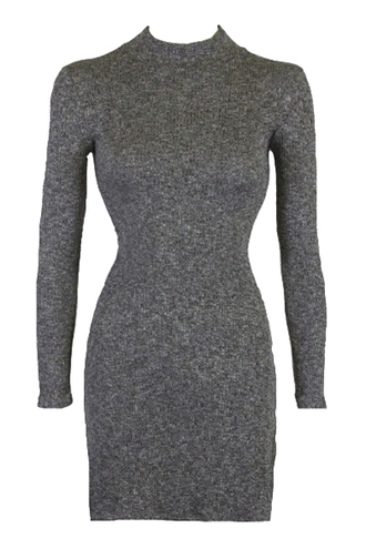 dress grey long sleeves warm cozy stand neck side slit bodycon dress fall outfits knitwear trendy winter dress