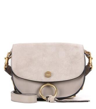 bag shoulder bag leather suede grey