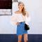 Off-the-shoulder & denim skirt -