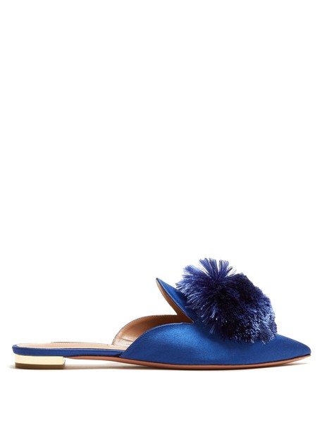 Aquazzura backless flats satin blue shoes