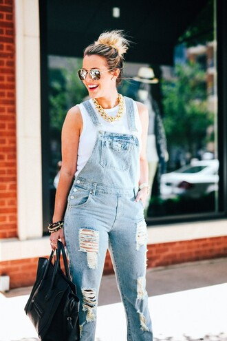 the courtney kerr blogger tank top gold chain ripped denim overalls mirrored sunglasses