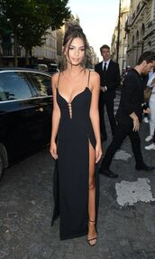 dress,black dress,slit dress,emily ratajkowski,Paris Fashion Week 2017,fashion week 2017,gown,prom dress,model off-duty,sandals,sandal heels,shoes