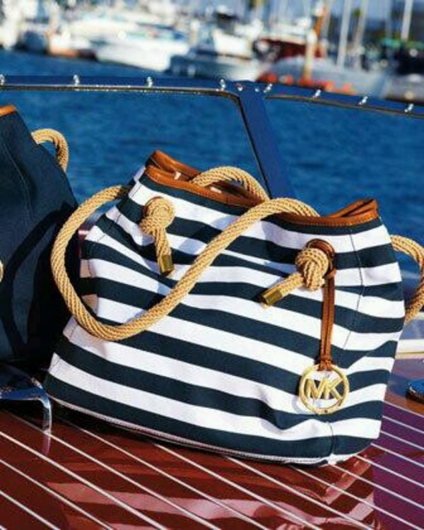 bag blue white michael kors gold beach sea sommer sun great michael kors bag
