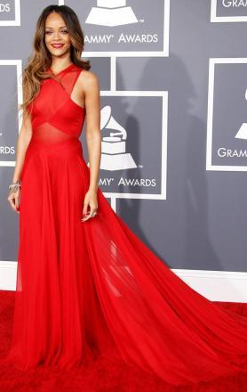 Celebrity rihanna sexy red chiffon prom dress online