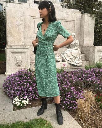 dress floral floral dress green dress boots black boots bag necklace