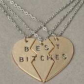 jewels,best bitches,necklace,heart