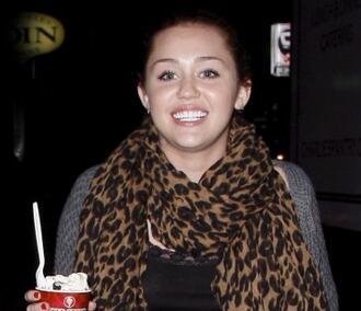 miley cyrus leopard brown scarf black scarf scarf