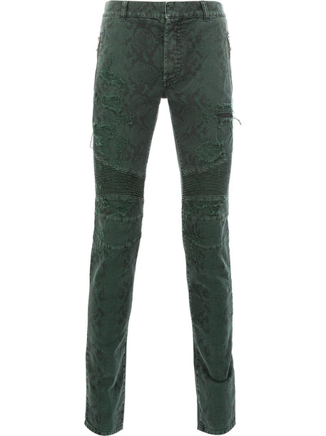 Balmain snake women spandex cotton green pants