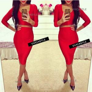 SEXY RED BODYCON COCKTAIL CROP 3/4 SLVS TOP PENCIL SKIRT DRESS TWO PIECE SET S