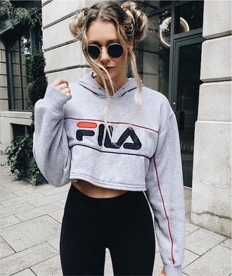 shirt tumblr grey fila leggings sweater grey hoodie black leggings blogger round sunglasses