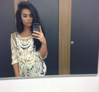 white dentelle crochet blouse