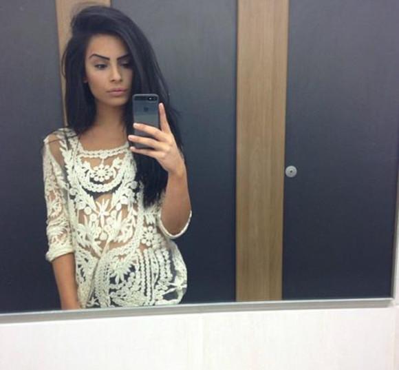 dentelle blouse white crochet