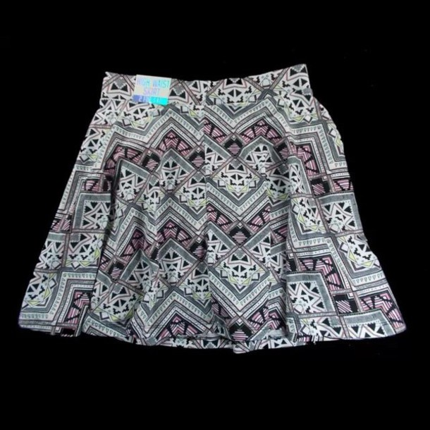 skirt victoria's secret pink vs tribal pattern white yellow back aztec tribe dress short high waisted skirt tribal skirt