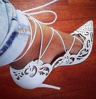 shoes high heels lace up white