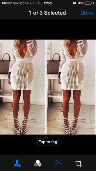 dress mesh dress white dress nude dress nude high heels plunge dress deep plunge white mesh party dress party outfits mini dress sexy party dresses