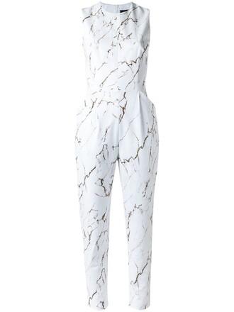 jumpsuit women spandex white cotton print