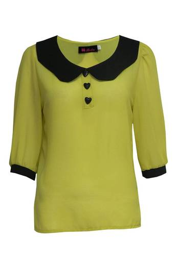 Ladies Cabrina Peter Pan Collar Heart Button Blouse in Lemon | Pop Couture