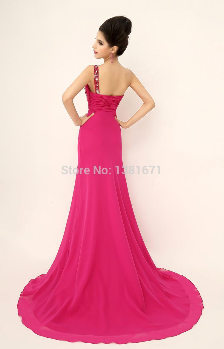 Aliexpress.com : Buy Free Shipping One Shoulder Crystal Detail Layer A line Sweep Train Best Prom Dress 2014 from Reliable dresses prom dress suppliers on Aojia Top Evening Dress