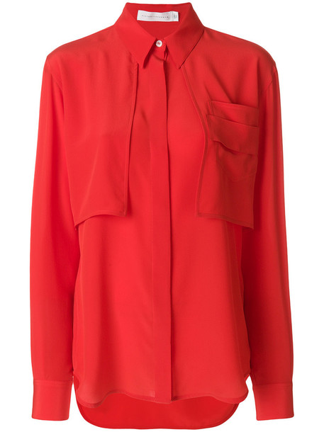 Victoria Beckham shirt women pearl silk red top
