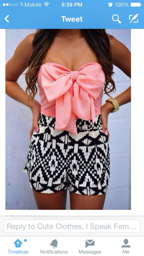 b4e283180aa803 dress crop tops aztec aztec skirt bow bow bandeau pink dress shorts blouse  crop crop tops.