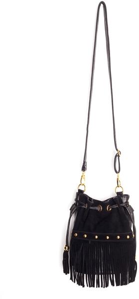 Nasty gal studded fringe bucket bag in black