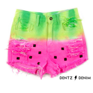 Watermelon High Waisted Denim Short - with Studs on Wanelo