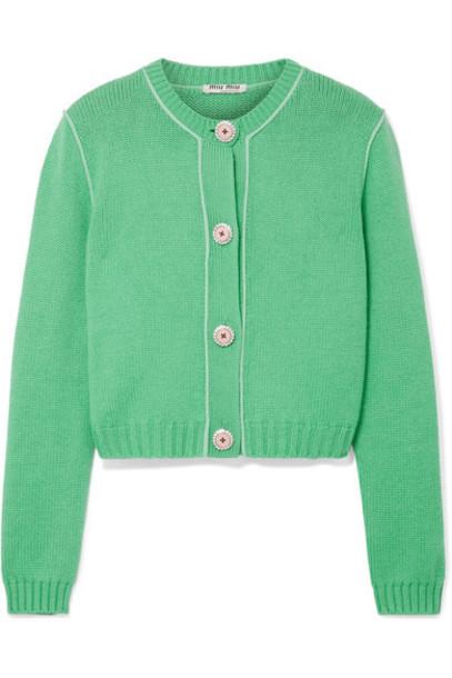 Miu Miu cardigan cardigan cropped embellished green sweater