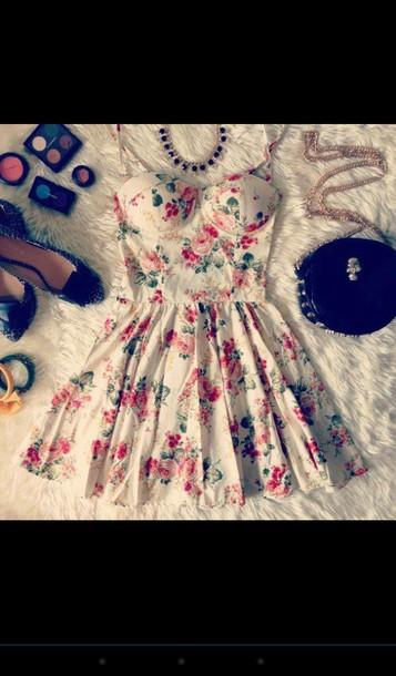 dress floral dress bustier dress cute dress bag jewels shoes floral shirt