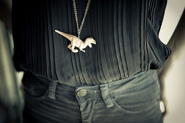 jewels dinosaur t-rex white pendant