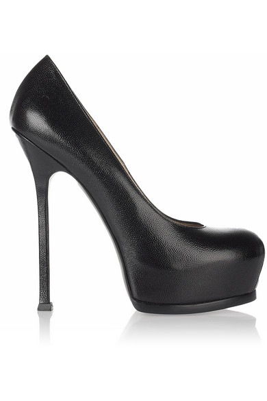 Saint Laurent | Tribute Two textured-leather pumps | NET-A-PORTER.COM
