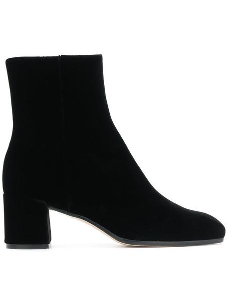 zip women leather black velvet shoes