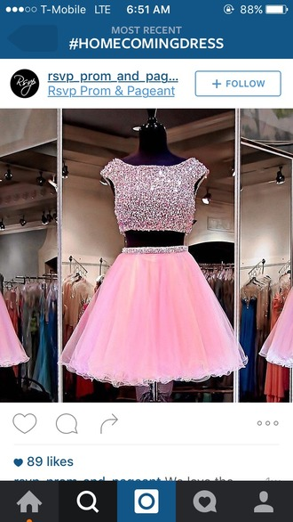 dress pink pearl two-piece prom homecoming tutu