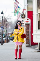 fastfood&fastfashion,blogger,dress,bag,make-up,shoes,spring outfits,red bag,red boots,yellow jacket