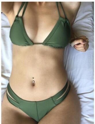 swimwear girly girl girly wishlist two-piece swimwear two piece green rose wholesale khaki bikini instagram chic sexy summer