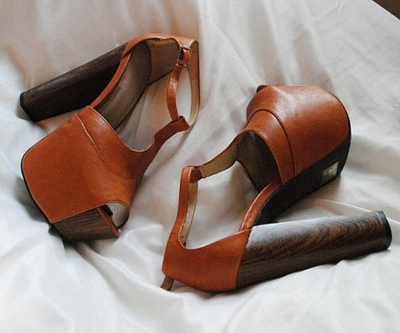 wooden heel shoes platform shoes leather brown shoes
