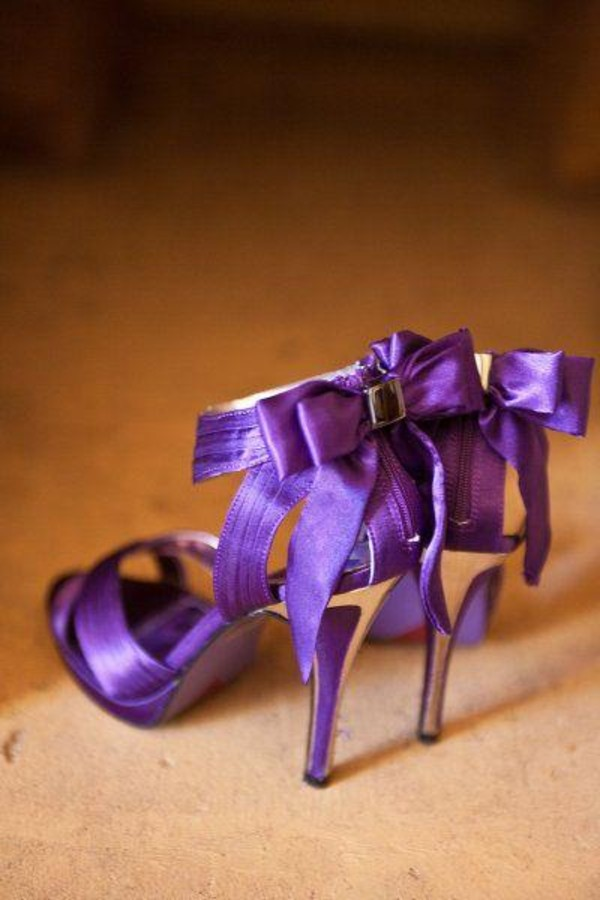 Shoes: bow heels, high heels, bow, purple shoes, purple heels ...