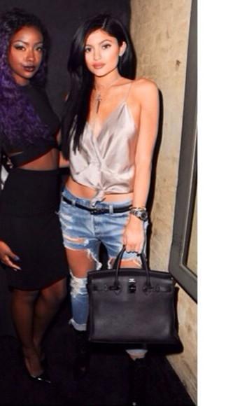 silk blouse top kylie jenner fashion kardashians tank top