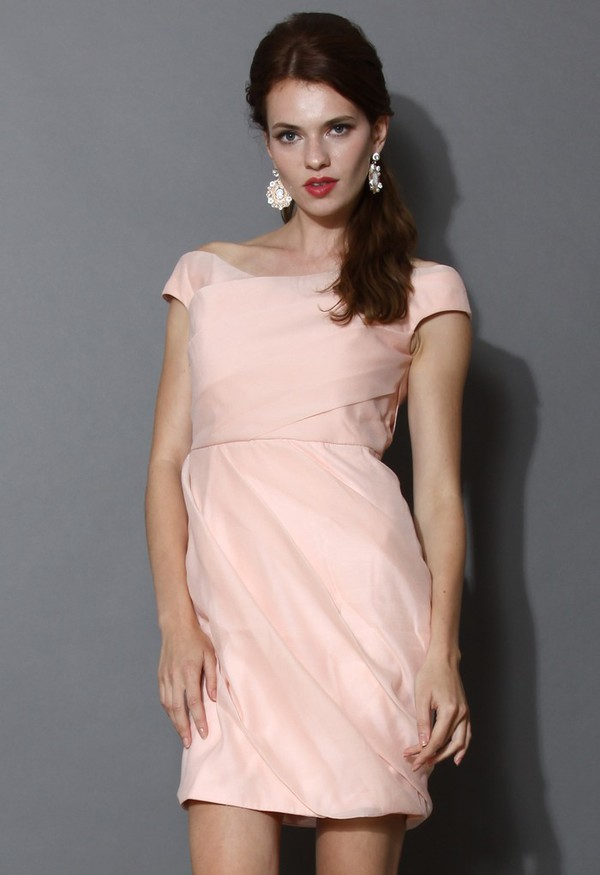 chicwish tender heart peach wrap dress