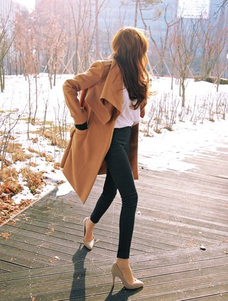 coat celebrity style beauty long coat yellowy brown blouse white t-shirt black jeans high heels winter coat fall outfits sweater weather