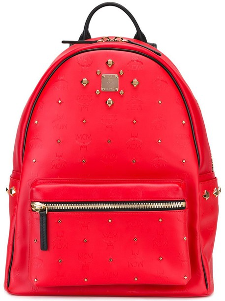 MCM studded women backpack studded backpack gold leather red bag