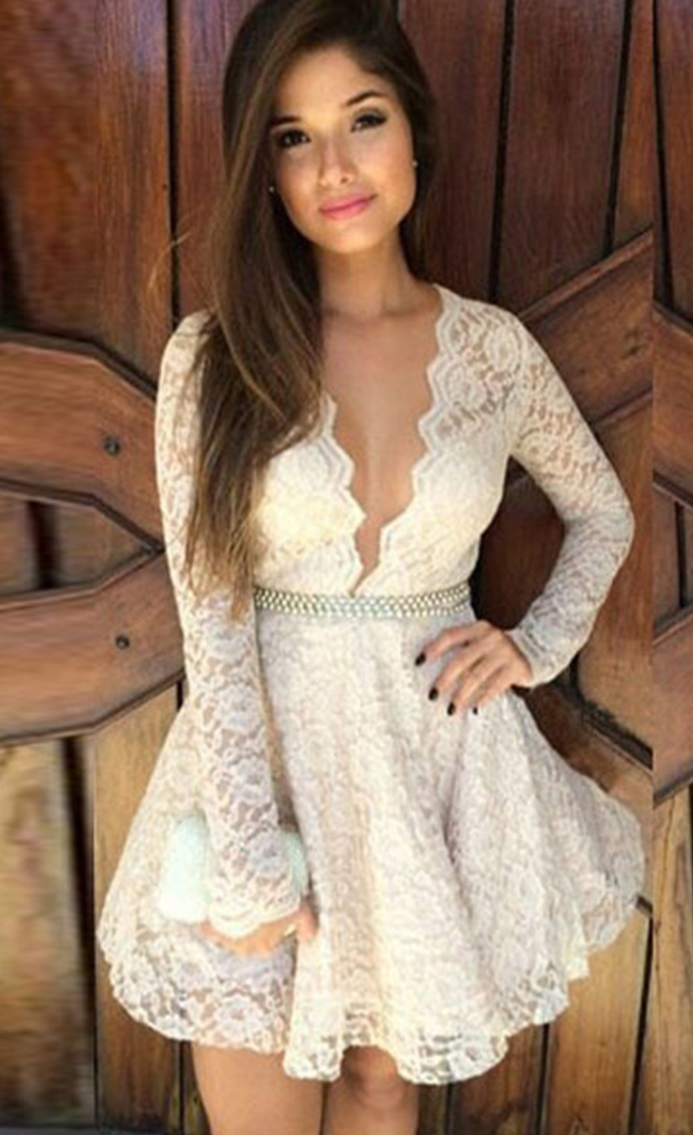 Gorgeous deep v neck lace skater dress